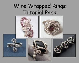 Sale, 15% Off - Wire Wrapped Rings Tutorial Pack - Wire Jewelry Tutorials - Save 30 Percent