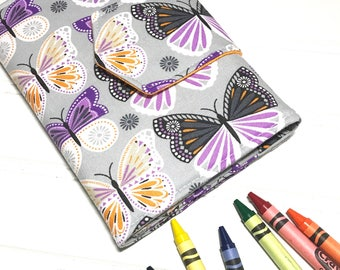 Butterfly crayon Wallet, Kids travel wallet, Butterfly  gift, Crayon roll, Art party favors, Drawing kit, Student gift, Butterfly fabric