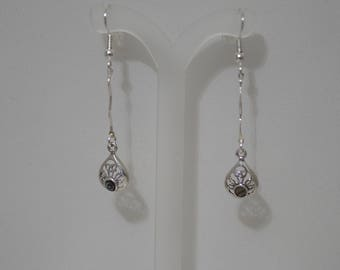 Sterling Silver Teardrop Earrings - Abalone