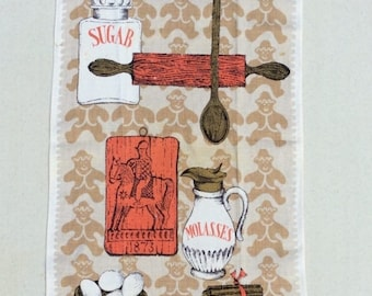 ON SALE Vintage Towel Gingerbread Cookies in an Old Time Kitchen