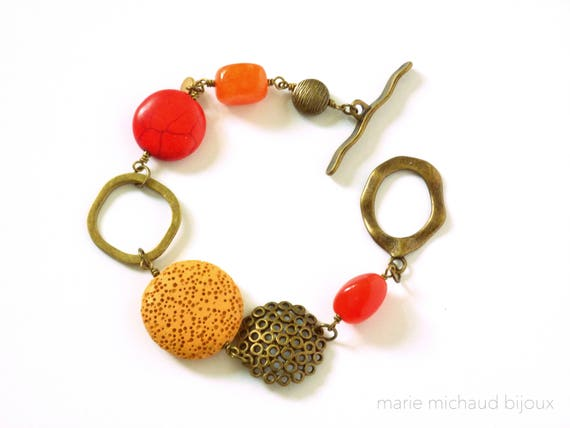 Big boho bracelet, Boho bracelet, Red and orange bracelet, Original bracelet, Boho jewelry, Summer bracelet,Colorful bracelet, Colorful
