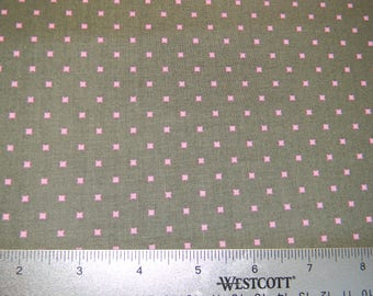 Gray with Tiny Pink Squares Cotton Fabric