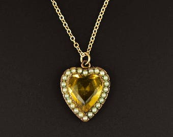 Edwardian Pearl Citrine Heart Necklace | Antique Gold Filled Heart Pendant | Vintage Dainty Pearl Heart Charm Edwardian Pendant | Paste