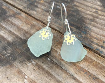 light green sea glass earrings with sterling silver flowers