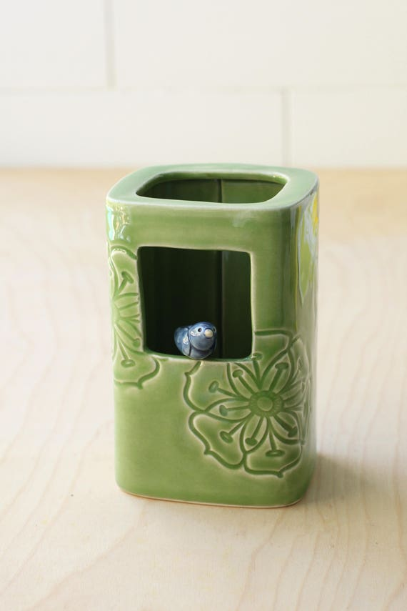 Square Vase with bird green and blue