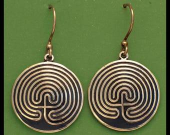 7-CIRCUIT LABYRINTH- Earrings- Bronze