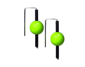 bright green statement earrings, stylish simple design, made by Frank Ideas