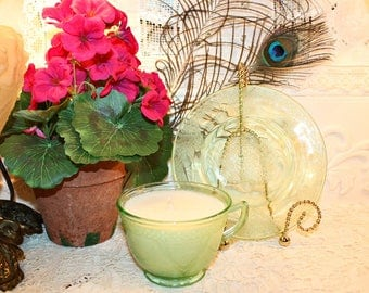 Soy Wax Vaseline Glass Tea Cup Candle,YOUR SCENT CHOICE,Homemade,Hand Poured,Gifts,Federal Glass,Georgian Lovebirds,Uranium,Etched Glass