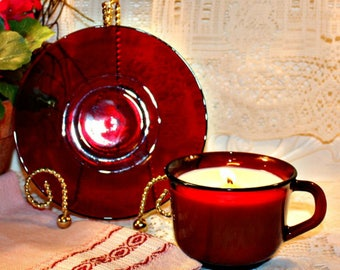 Soy Wax Vintage Ruby Red Tea Cup Candle,Depression Glass,Homemade,YOUR SCENT CHOICE,Hand Poured,Blood Glass,Ruby Red Glass Cup and Saucer