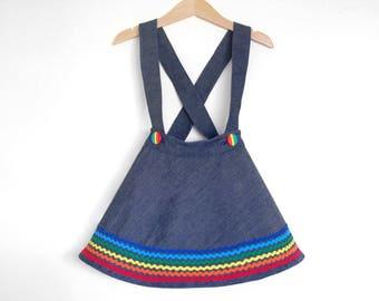 RAINBOW DENIM toddler girls skirt with suspenders, baby girl retro everyday skirt with braces, little girl rainbow skirt with straps, size 3
