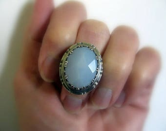 Sterling Silver Ring, Large Blue Gemstone Ring, Handmade Silver Jewelry, Chalcedony Gemstone Ring Size 7.25