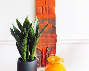 European Bohemian multi colored woven art / 1970s orange textile wall hanging / mid century  tapestry