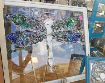 Dragonfly recycled sea glass window