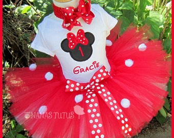 Red Hot  Minnie, Party Outfit,Number, Theme Parties,Personalized in Sizes  1yr thru 4yrs
