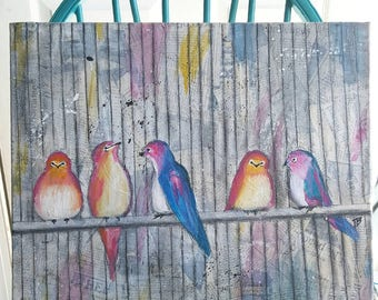 caged birds - original 16x20 painting - bright colors