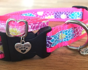Best Friend Bracelet and Pet Collar Set in Dahlia floral print on Hot Pink Webbing.