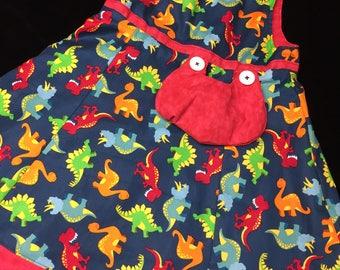 Reversible dinosaur dress size 1-6years//Dino dress//Dino frocks//reversible dresses//3year dresses