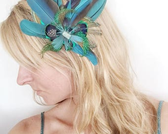 Cruelty Free Feather Fascinator Hatpiece Clip Headdress Derby Wedding Festival Feather Hair clip