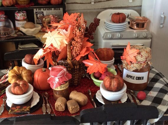 Miniature Fall Tablescape, Table & 4 Chairs -1:12 scale