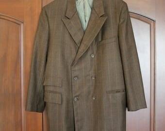 1950s Pinstripe Gangster Jacket, Brown Double Breasted Vintage Mens Suit Jacket