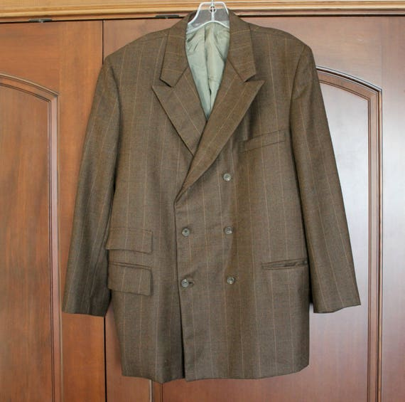 Vintage 1950s Pinstripe Gangster Jacket, Brown Double Breasted Mens Suit Jacket