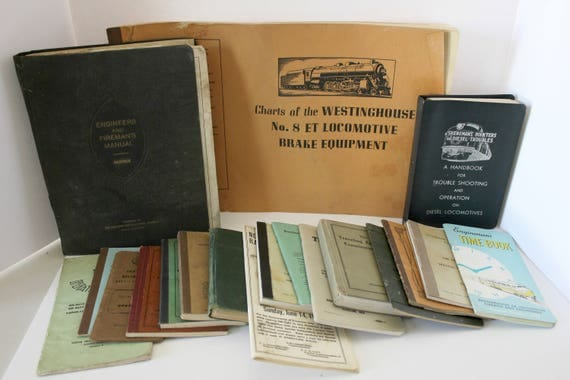 Lot of 19 1940s 50s Railroad Train Engineers Books, Manuals, Times, Operations