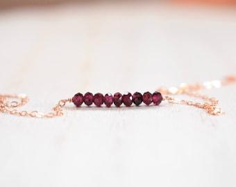 deep purple garnet gem bar necklace.  deep garnet beaded bar necklace. rose gold filled chain. garnet and rose gold necklace . garnet bar