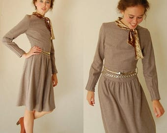 SALE 25% off sundays Vintage Beige Wool Ascot Preppy Boho Sheath Dress (xs)