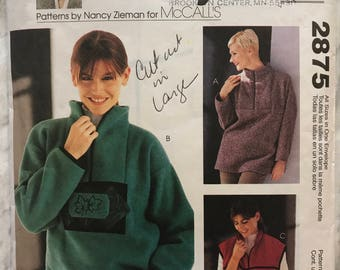 McCall's Sewing With Nancy Pattern 2875 Misses Petite Pullover Tops And Vest