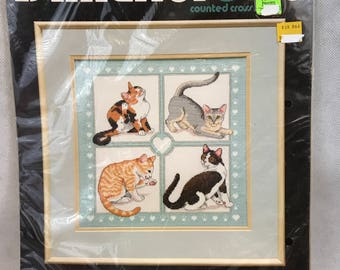 Dimensions FELINE FOURSOME Vintage Counted Cross Stitch Kit
