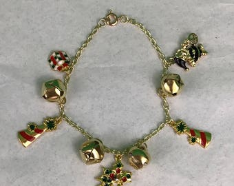 Jingle Bells Christmas Charms Gold Tone Bracelet