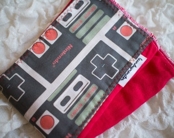 Baby burp cloth - Red vintage nintendo hand dyed burp cloth