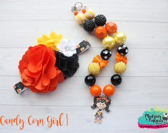 Halloween Chunky Necklace or headband { Candy Corn }  tFall, black orange, pumpkin patch, candy cake smash photography prop