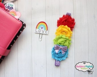 Paper Clip or Planner band { Rainbow Love } unicorns,bible journaling, faith elastic baby headband, happy planner, photography prop