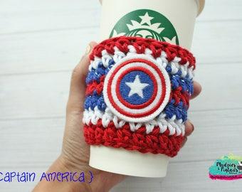 Marvel Coffee Cozy { Captain America } avengers, super hero Inspired striped, robot, crochet cup sleeve, mug starbucks water bottle