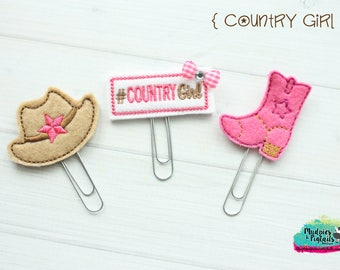 Planner Clip or Hair Clippies { Country Girl } cowgirl, hat, boots, farmhouse Summer Paper Clips, Stationary, Birthday party favors, kikkik