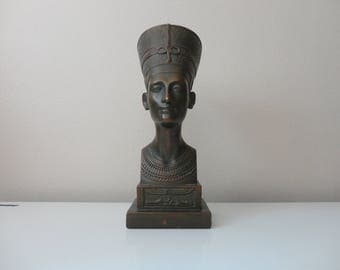 VINTAGE egyptian queen NEFERTITI BUST - marwal - cast plaster bust figurine  - as found