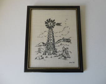 VINTAGE 1978 framed with glass EMBROIDERY of windmill farm scenery - farmhouse country decor