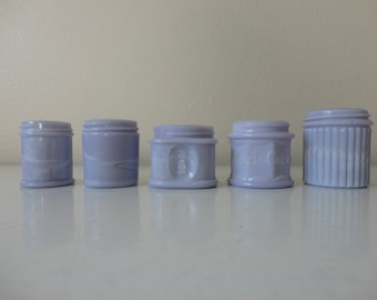 ANTIQUE collection of 5 lavender purple milk glass BEAUTY JARS - as found