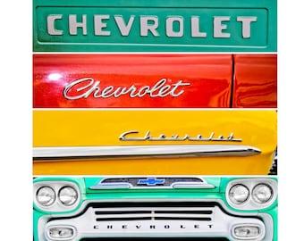 Chevrolet Lettering Square Print, Automotive, Auto Dealer, Muscle, Sports Car, Mechanic, Boys Room, Garage, Dealership Art