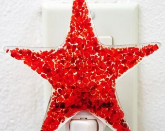 Glassworks Northwest - Star Night Light Reds - Fused Glass Art