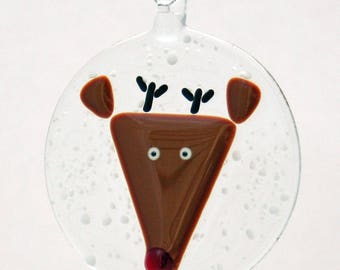 Glassworks Northwest - Rudolph the Red-nosed Reindeer in a Snowstorm - Fused Glass Ornament