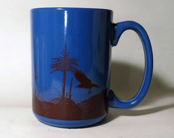 Ceramic Crow Mug Cobalt Blue Raven Ceramic Coffee Mug Laser Decal Transfer