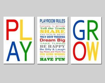 Playroom Decor Playroom Wall Art Playroom Rules Sign for Playroom Kids Wall Art Love Play Grow Set of 3 Prints - CHOOSE YOUR COLORS