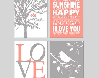 Coral Nursery Art Coral Nursery Decor You Are My Sunshine Nursery Sign Coral Bird Nursery Art Set of Four Prints - CHOOSE YOUR COLORS