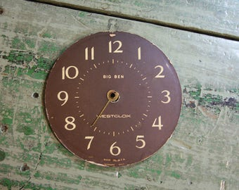 Vintage Metal CLOCK FACE- Big Ben Westclox- Assemblage Supply- Mixed Media Clock Parts- Brown & White- Industrial