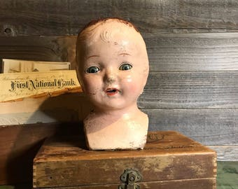 Antique Composition Doll Head with Sleepy Eyes-Vintage Doll  Distressed Worn Patina Oddity- Scary Doll Parts