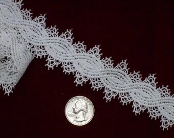 "White Vintage Lace Trim Unusual Flat Victorian 1.5"" wide x 2+ yds"