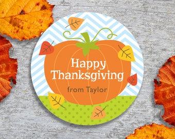 Personalized Thanksgiving Tags or Stickers – 2, 2.5 or 3 Inch Circle – DIY Printable  – Pumpkin (Digital File)