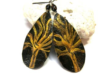 ON SALE X Large Teardrop leather earrings Hand painted Earrings Tree of Life Leather Earrings Top Selling Jewelry Leather Earrings